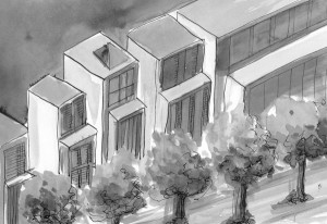 buildings - watercolour & ink sketch