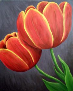 tulips 2 - acrylic painting